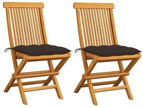 3062483 vidaXL Scaune grădină cu perne, 2 buc. gri taupe, lemn masiv tec