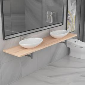 279386 vidaXL Set mobilier de baie din trei piese, stejar, ceramică