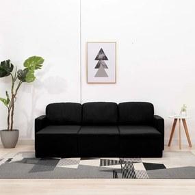 288792 vidaXL Canapea extensibilă modulară cu 3 locuri, negru, textil