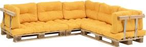 [en.casa]® Garnitura coltar, completa mobilier paleti Model E - 3 x europalet, 3 x perna sezut, 8 x perne spate, 3 x suport spate, 3 x suporti brate - galben mustar