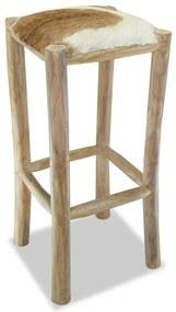 244544 vidaXL Taburet de bar, piele naturală și lemn masiv de tec