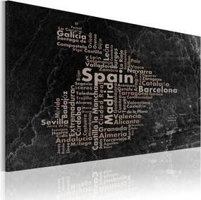 Tablou Bimago - Text map of Spain on the blackboard 60x40 cm