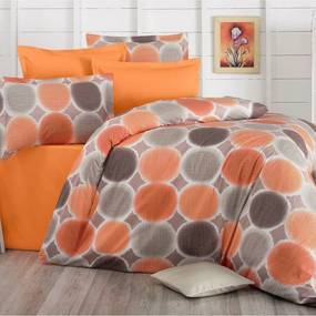 Lenjerie de pat, din bumbac, Delux Targets, portocaliu, 140 x 220 cm, 70 x 90 cm