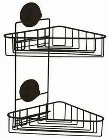 Etajeră dublă de colț Compactor Bestlock Black, de baie, 23,5 x 22 x 36 cm