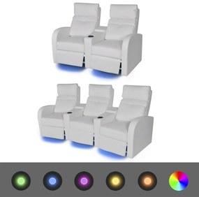 274312 vidaXL Canapea rabatabilă LED 2+3 locuri piele artificială 2 piese alb