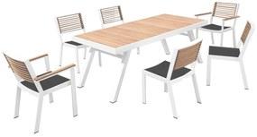 Set mobilier de gradina si terasa Higold York, masa dreptunghiulara si 6 scaune, alb
