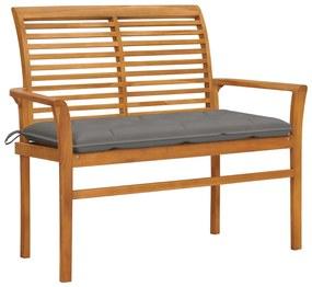 3062665 vidaXL Bancă de grădină, cu pernă gri, 112 cm, lemn masiv de tec