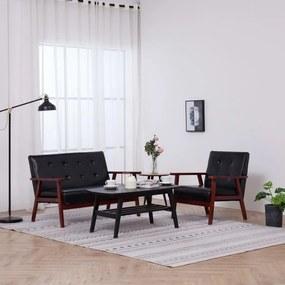 278395 vidaXL Set canapea, 2 piese, negru, piele artificială