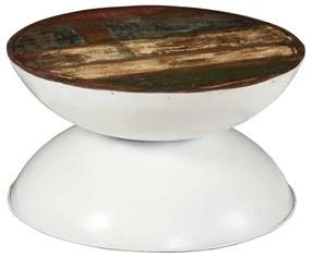 244899 vidaXL Măsuță de cafea, lemn masiv reciclat, bază albă, 60x60x33 cm
