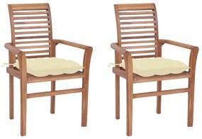 3062612 vidaXL Scaune de masă cu perne, 2 buc., crem, lemn masiv de tec