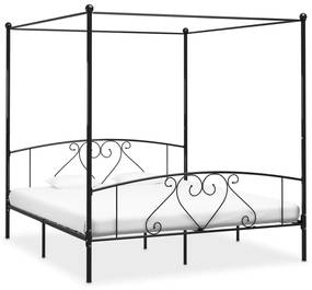 284438 vidaXL Cadru de pat cu baldachin, negru, 180 x 200 cm, metal