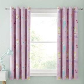 Set 2 draperii pentru camera copiilor Catherine Lansfield Mermaid, 168 x 183 cm, roz