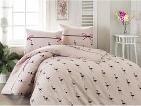 Lenjerie de pat cu cearșaf pentru pat dublu Flamingo Powder, 200 x 220 cm
