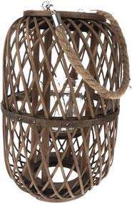 Felinar de bambus cu suport de sticlă Helga, 20 x 30 cm