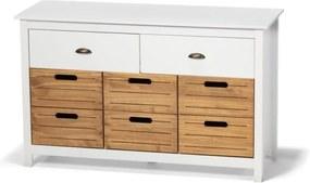 Comodă din lemn de pin și 8 sertare loomi.design Ibiza, alb