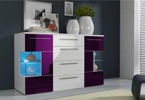Expedo Comodă LUGANO, alb/violet luciu