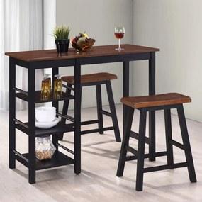 245363 vidaXL Set mobilier de bar, 3 piese, MDF, negru