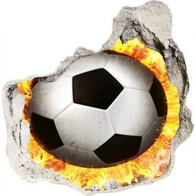 Fototapet 3D gaură în perete Arderea de fotbal a văzut