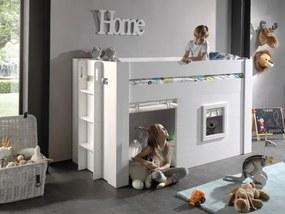 Pat etajat din MDF pentru copii cu spatiu de joaca si perdelute decorative Noah Alb, 200 x 90 cm