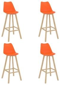 3068524 vidaXL Scaune de bar, 4 buc., PP portocaliu, lemn masiv de fag