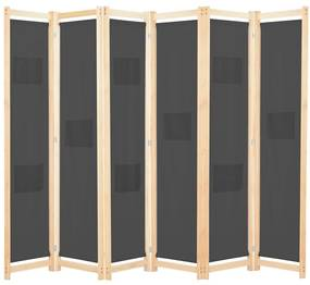 248178 vidaXL Paravan cameră, 6 panouri, gri, 240x170 x4 cm, material textil