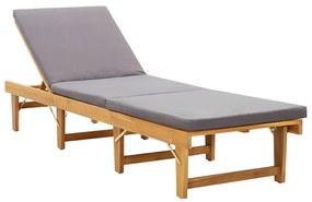 46491 vidaXL Șezlong pliabil cu pernă, lemn masiv de acacia