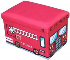 Taburet cu spatiu depozitare 48 x 32 x 32 cm, imprimeu Fire Truck