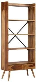 246206 vidaXL Bibliotecă din lemn masiv de sheesham, 75 x 30 x 170 cm