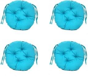 Set Perne decorative rotunde, pentru scaun de bucatarie sau terasa, diametrul 35cm, culoare albastru, 4 buc/set