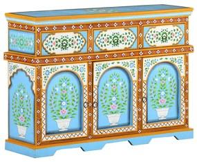 321662 vidaXL Servantă vopsită manual multicolor, 110x30x76 cm, lemn mango