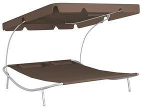 41122 vidaXL Șezlong dublu tip pat de exterior, baldachin și 2 perne, maro
