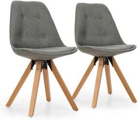 OneConcept Iseo, scaun, set de 2 piese, construcíe polimerizată, lemn de mesteacăn, culoare gri