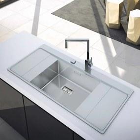Chiuveta bucatarie inox CookingAid XERON B50 reversibila cu ventil scurgere dreptunghiular automat si accesorii montaj