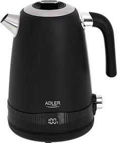 Fierbator Adler AD 1295b SS, 1,7 l, cu reglare temperatura si display LED, negru satinat