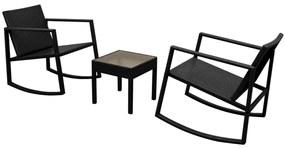 Set scaun balansoar cu masă, 3 piese, poliratan, negru