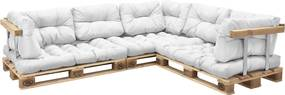 [en.casa]® Set Louisa perne interior Model D - canapea paleti -  3 x perna sezut + 8 x perne spate - alb