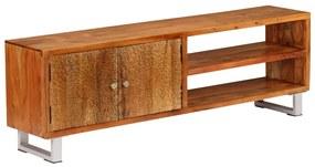 244971 vidaXL Comodă TV din lemn masiv cu uși sculptate, 140 x 30 x 40 cm