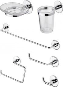 Set de accesorii pentru baie cu montare fara gauri CasaBlanca WIND