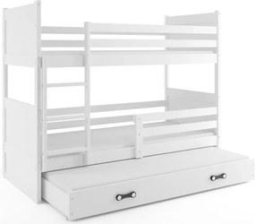 Pat supraetajat cu sertar și canapea Yoselin, lemn, alb, 80 x 190 cm