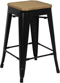 Taburet cu picioare din fier negru si sezut din rattan natur 31 cm x 31 cm x 62 h
