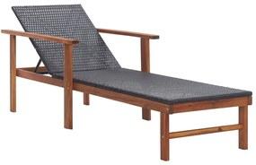 48706 vidaXL Șezlong, negru, poliratan și lemn masiv de acacia