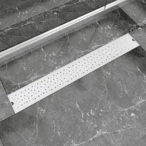 Rigolă duș liniară oțel inoxidabil, model bule, 830 x 140 mm