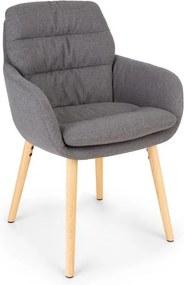 Besoa Doug, scaun tapițat, umplut cu spumă, poliester, picioare din lemn, gri închis