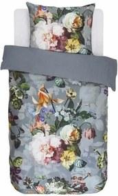 Lenjerie de Pat din Bumbac Satinat, 140x220 cm  - Fleur Fadded Blue