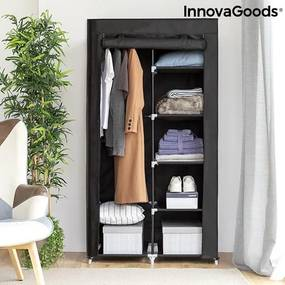 Dulap textil pentru haine, Armäri InnovaGoods Home Organize, 5 rafturi, 87 x 165 x 45 cm, Negru