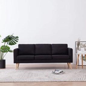 281360 vidaXL Canapea cu 3 locuri, negru, material textil