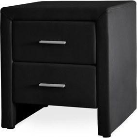 Noptiera eleganta din imitatie de piele cu 2 sertare - 48x42x55cm - negru