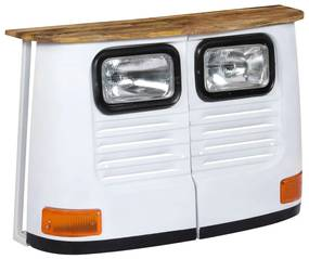 246243 vidaXL Servantă camion, alb, lemn masiv de mango