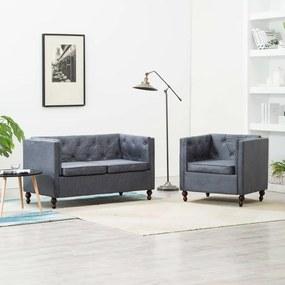 275628 vidaXL Set canapele Chesterfield, 2 piese, gri, tapițerie țesătură