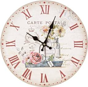Ceas perete lemn Carte Postale Roses 34x34cm